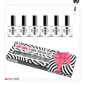6 Top Coat Clear Nail Polish With Gift Box