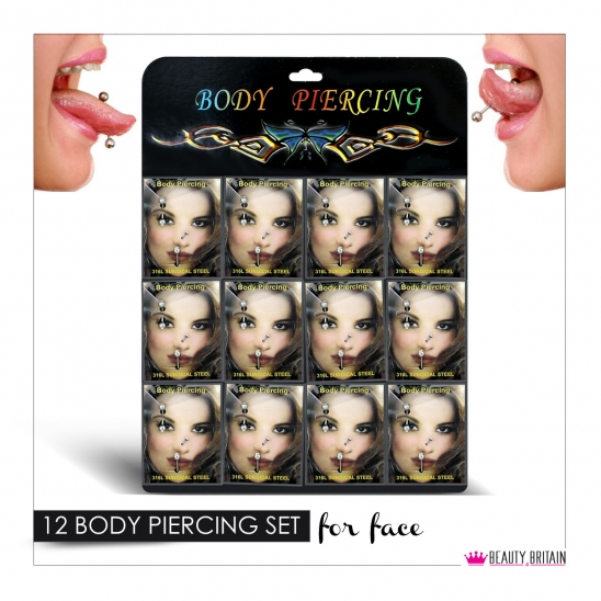 36 Body Piercing in 12 Sets Display Stand