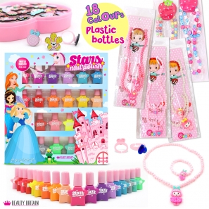 18 Nail Polish Set + 12 Girlish Necklaces + 36 pcs Kids Rings