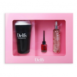 Delfy Cosmetics Gift Box Fragrance Mist, Nail Polish, Coffe Cup