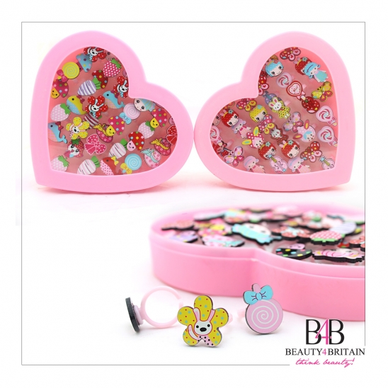 72 Cute Rings Heart Box