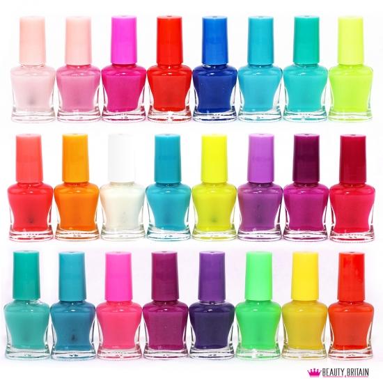 24 Neon Nail Polish Set Glow In The Dark Artificial Nails Np90626
