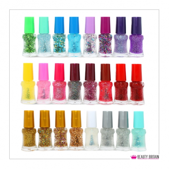 24 Glitter Nail Polish Set Different Shades