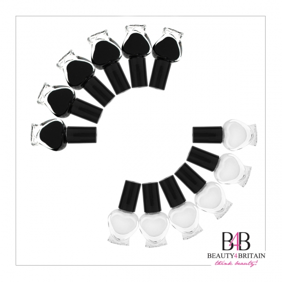 24 Bottles French Manicure Set 12 White & 12 Black - Click Image to Close