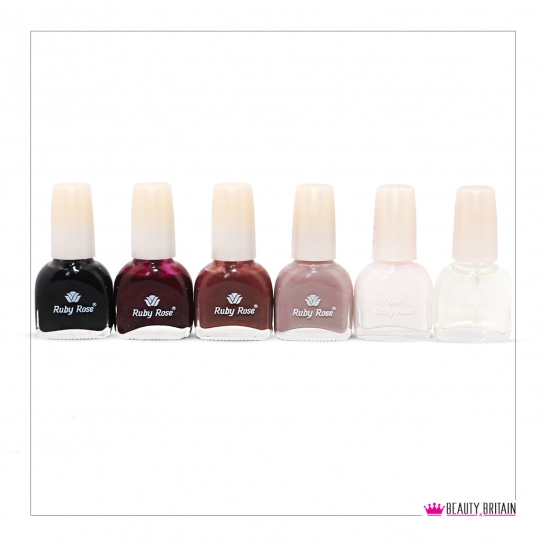 6 Nail Polish Set incl. Base/Top Coat