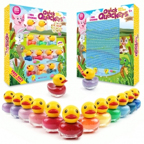 12 Nail Polish Set Duck Shaped Water Based + Stickers