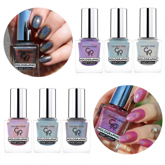3 Holographic Nail Colour Rainbow Effect